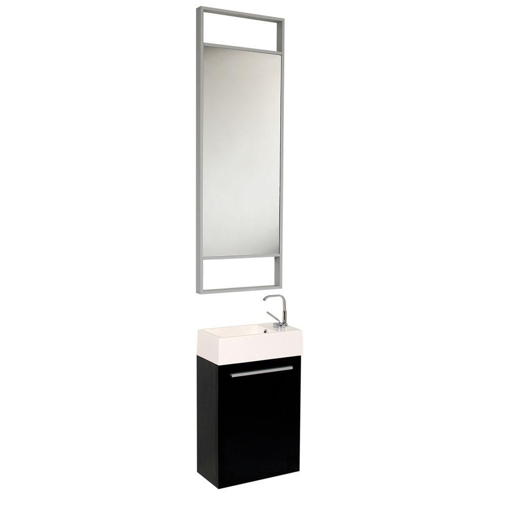 fresca pulito petit meuble lavabo de salle de bains moderne noir avec grand miroir home depot. Black Bedroom Furniture Sets. Home Design Ideas