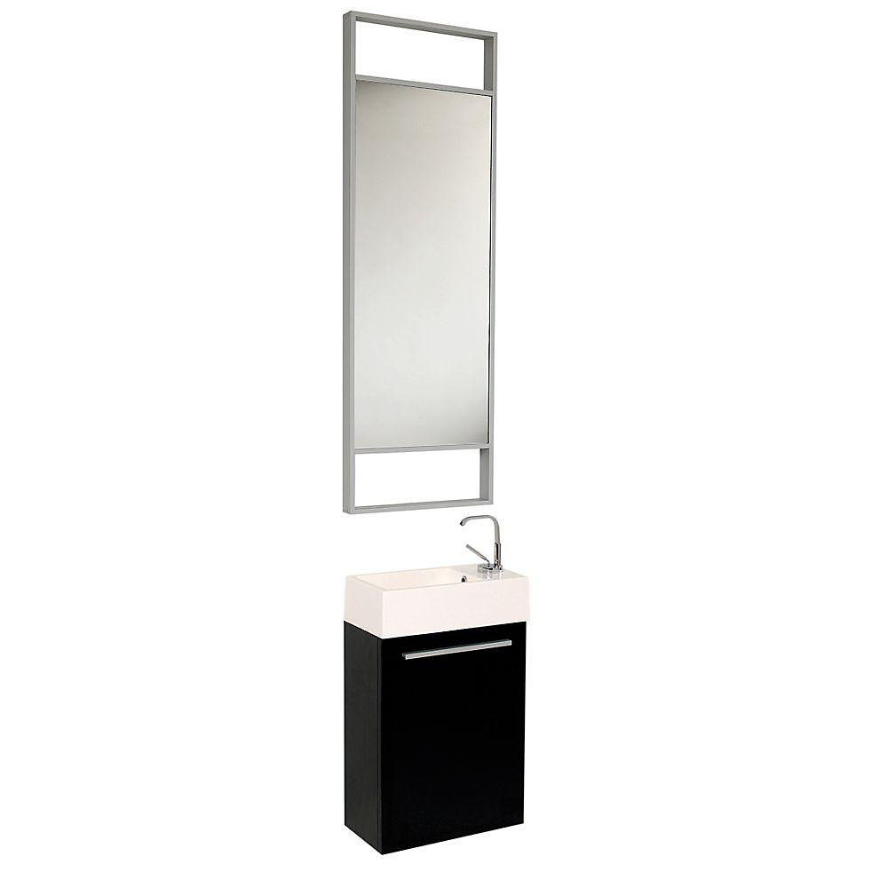 Pulito 15.5-inch W 1-Door Wall Mounted Vanity in Black With Acrylic Top in White