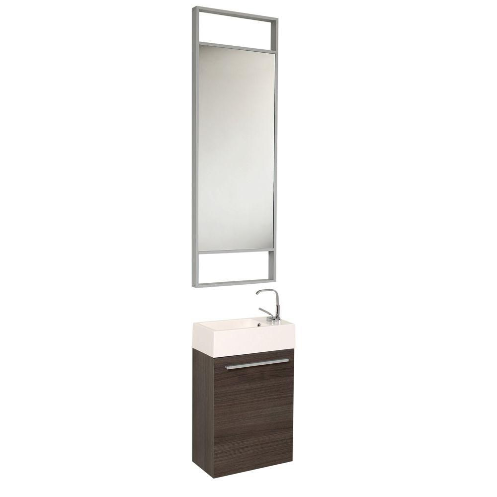 fresca pulito petit meuble lavabo de salle de bains moderne ch ne gris avec grand miroir home. Black Bedroom Furniture Sets. Home Design Ideas