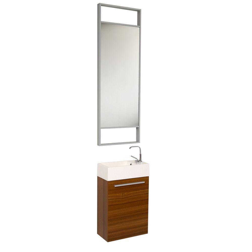 Pulito petit meuble-lavabo de salle de bains moderne teck avec grand miroir