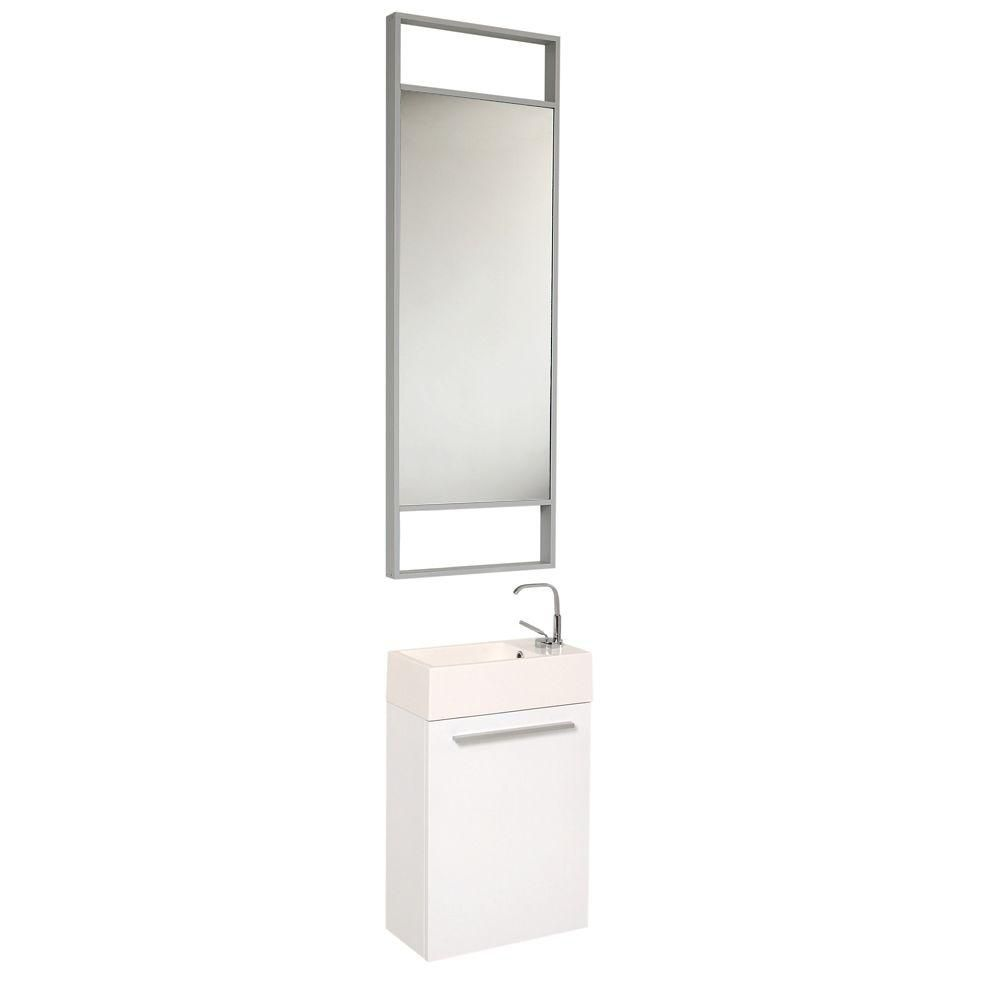 fresca pulito petit meuble lavabo de salle de bains moderne blanc avec grand miroir the home. Black Bedroom Furniture Sets. Home Design Ideas