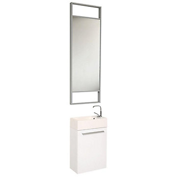 Fresca Pulito petit meuble-lavabo de salle de bains moderne blanc ...