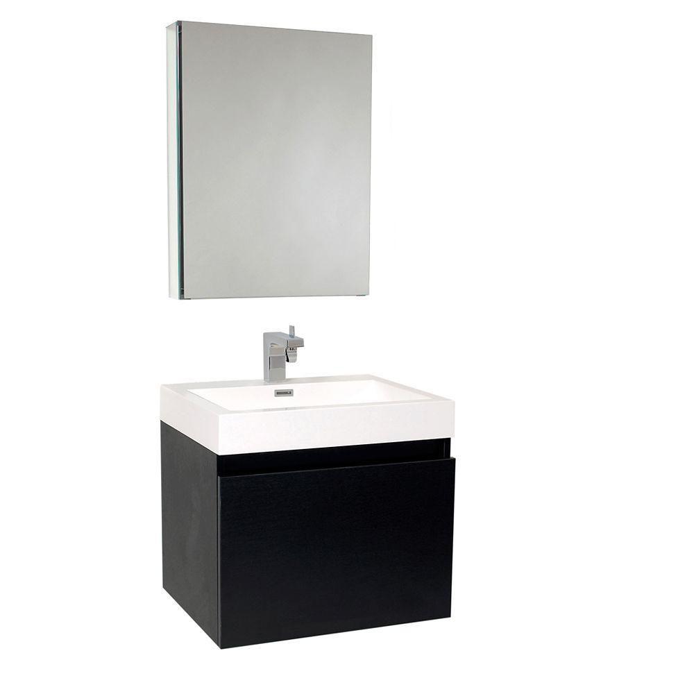 Nano Meuble-lavabo de salle de bains moderne noir avec armoire à pharmacie