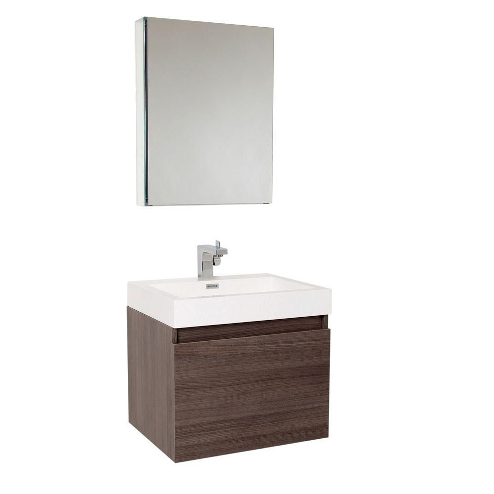 Nano 23 1/2-inch W Vanity in Grey Oak Finish with Medicine Cabinet