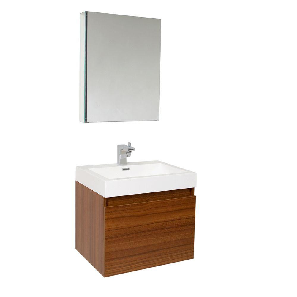 Nano Meuble-lavabo de salle de bains moderne teck avec armoire à pharmacie