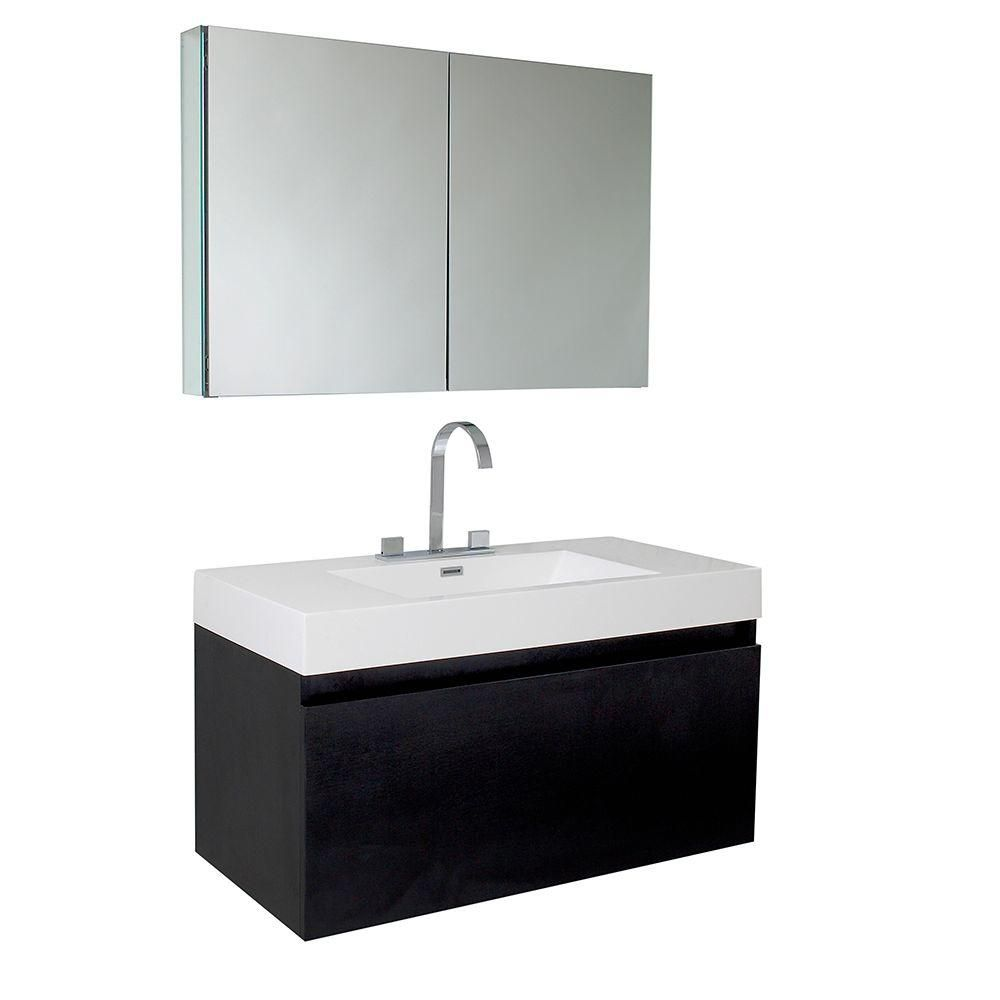 fresca mezzo meuble lavabo de salle de bains moderne noir avec armoire pharmacie home depot. Black Bedroom Furniture Sets. Home Design Ideas