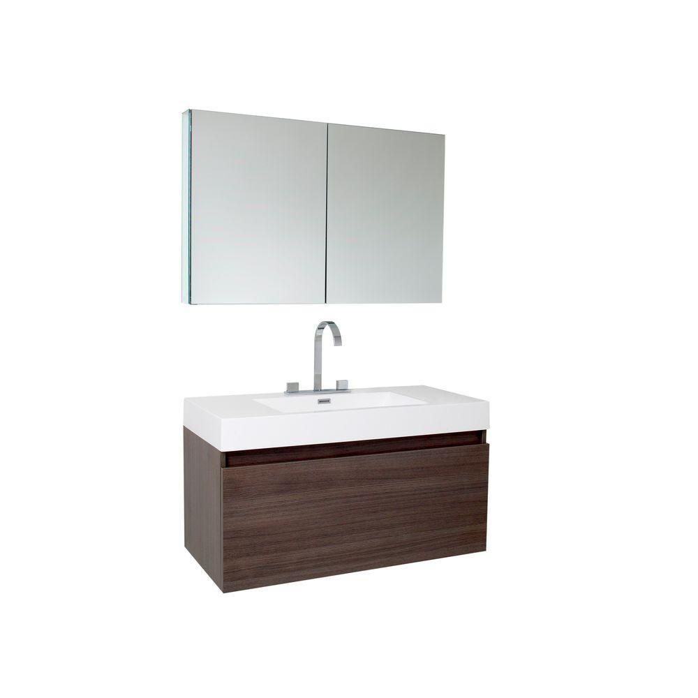 fresca mezzo meuble lavabo de salle de bains moderne ch ne gris avec armoire pharmacie home. Black Bedroom Furniture Sets. Home Design Ideas