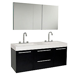 Fresca Opulento 54-inch W 2-Drawer 2-Door Wall Mounted Vanity in Black With Acrylic Top in White, 2 Basins