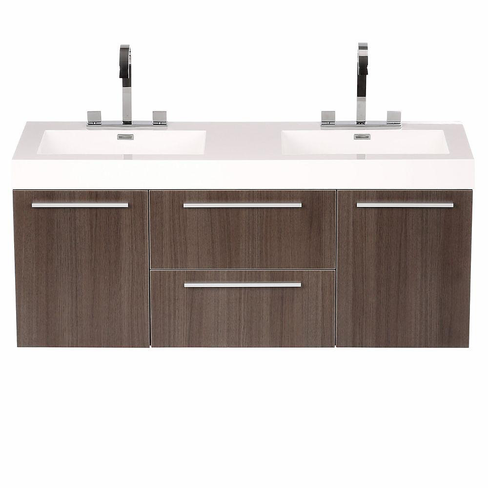 Opulento 54-inch Double Vanity in Grey Oak with Acrylic Top in White with White Basins & Mirror