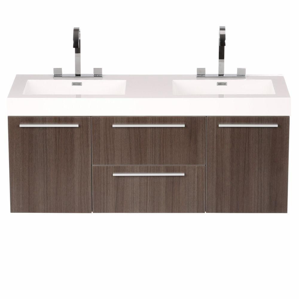 Fresca Opulento 54-inch Double Vanity in Grey Oak with Acrylic Top in White with White Basins & Mirror