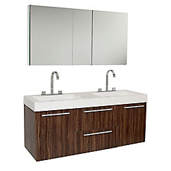 Fresca Opulento 54-inch W 2-Drawer 2-Door Wall Mounted Vanity in Brown With Acrylic Top in White, 2 Basins