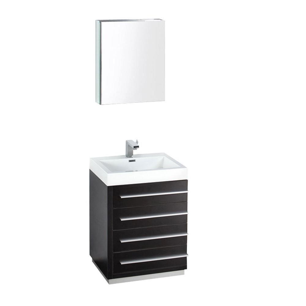 Livello Meuble-lavabo de salle de bains moderne noir 24 po avec armoire à pharmacie