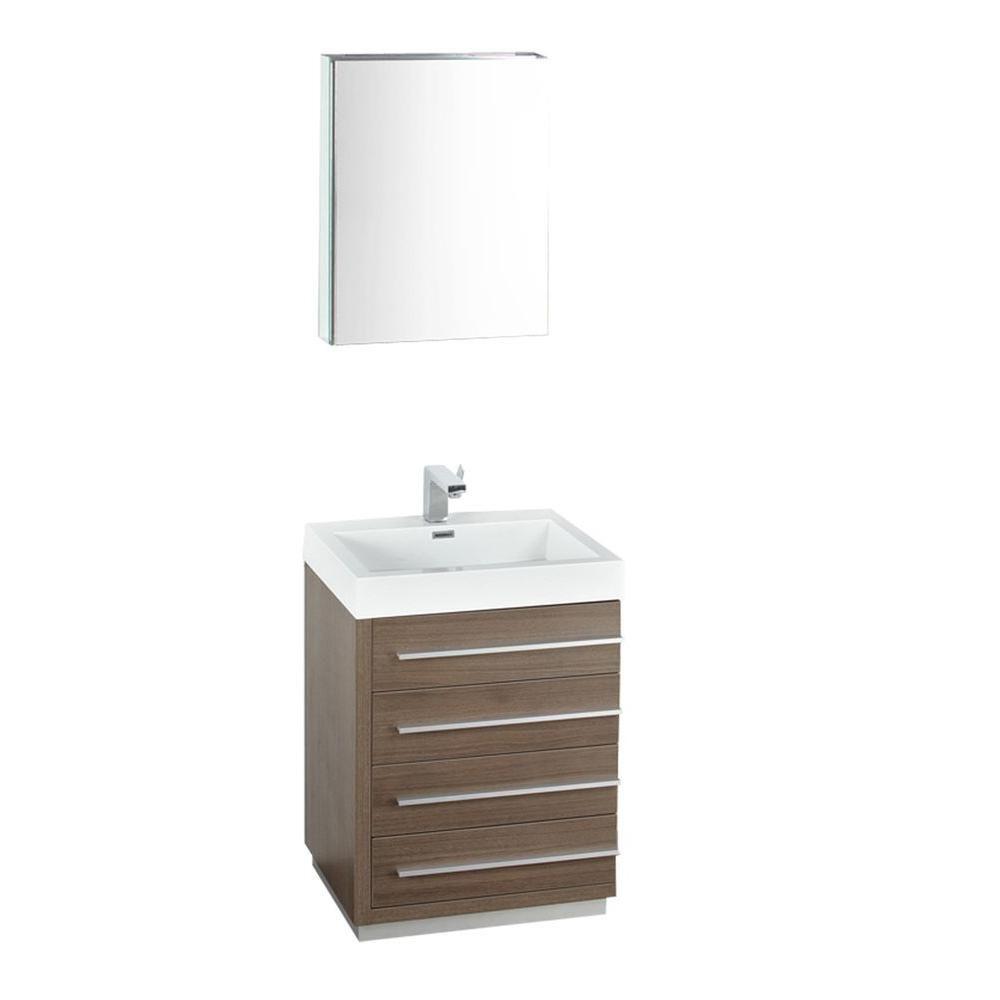Livello Meuble-lavabo de salle de bains moderne chêne gris 24 po avec armoire à pharmacie