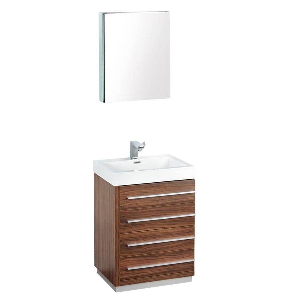 Livello Meuble-lavabo de salle de bains moderne noyer 24 po avec armoire à pharmacie