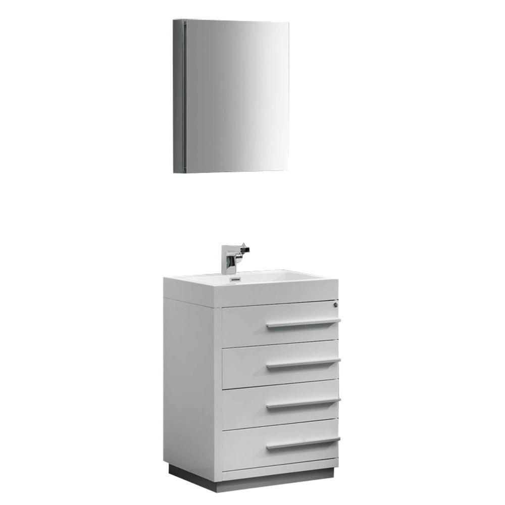 Fresca Livello 23.38-inch W 4-Drawer Freestanding Vanity in White With Acrylic Top in White With Faucet