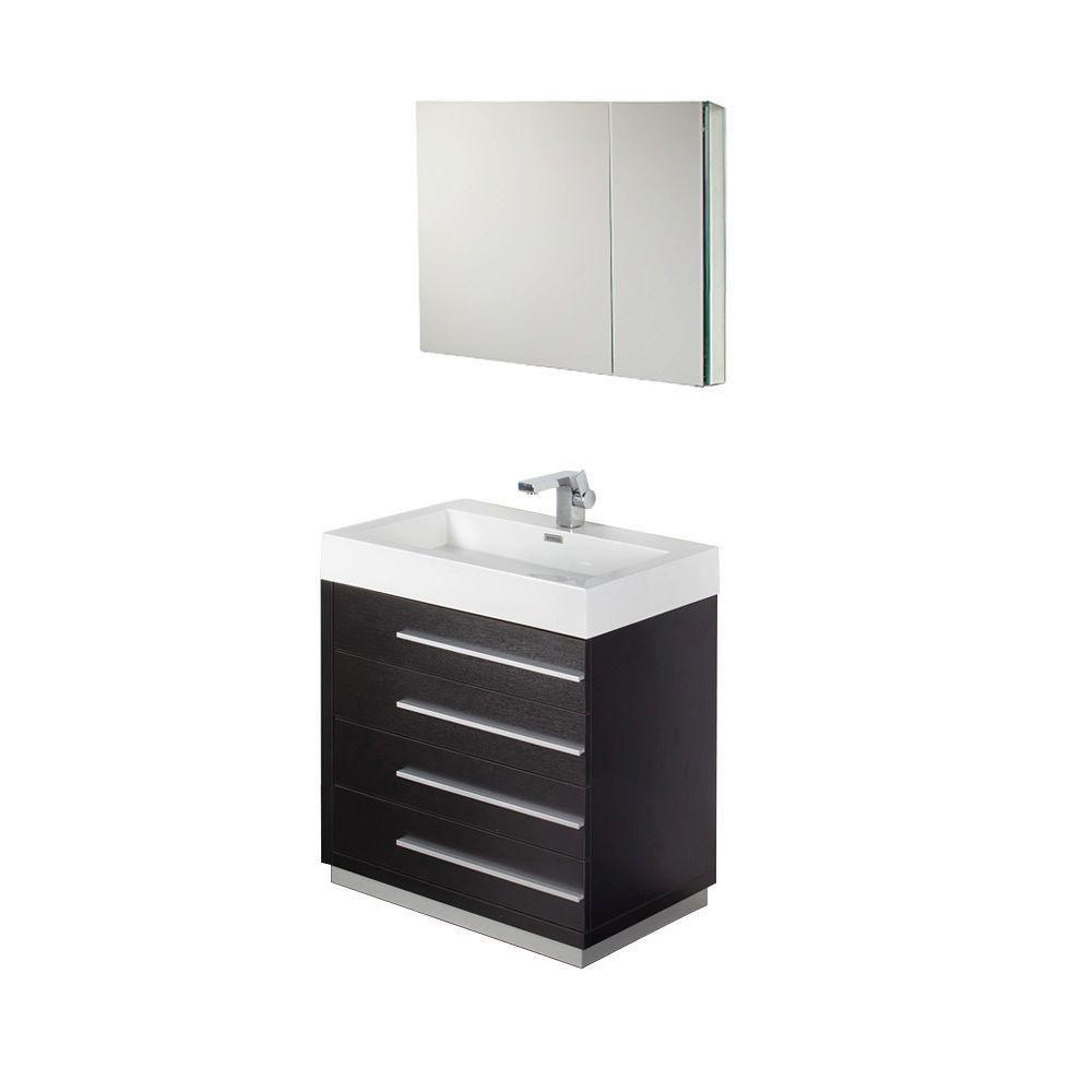 Livello Meuble-lavabo de salle de bains moderne noir 30 po avec armoire à pharmacie