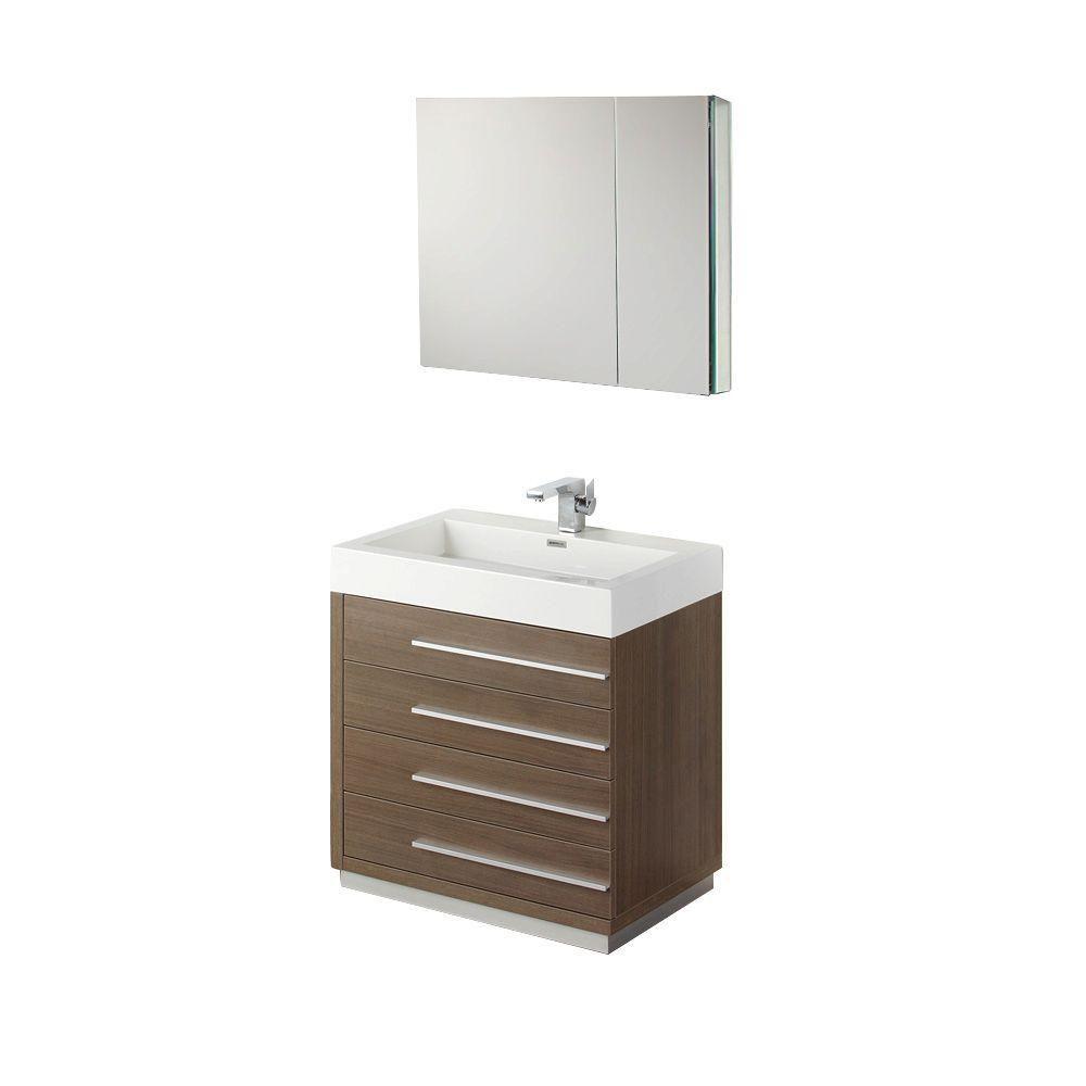 Livello 30-inch W Vanity in Grey Oak Finish with Medicine Cabinet