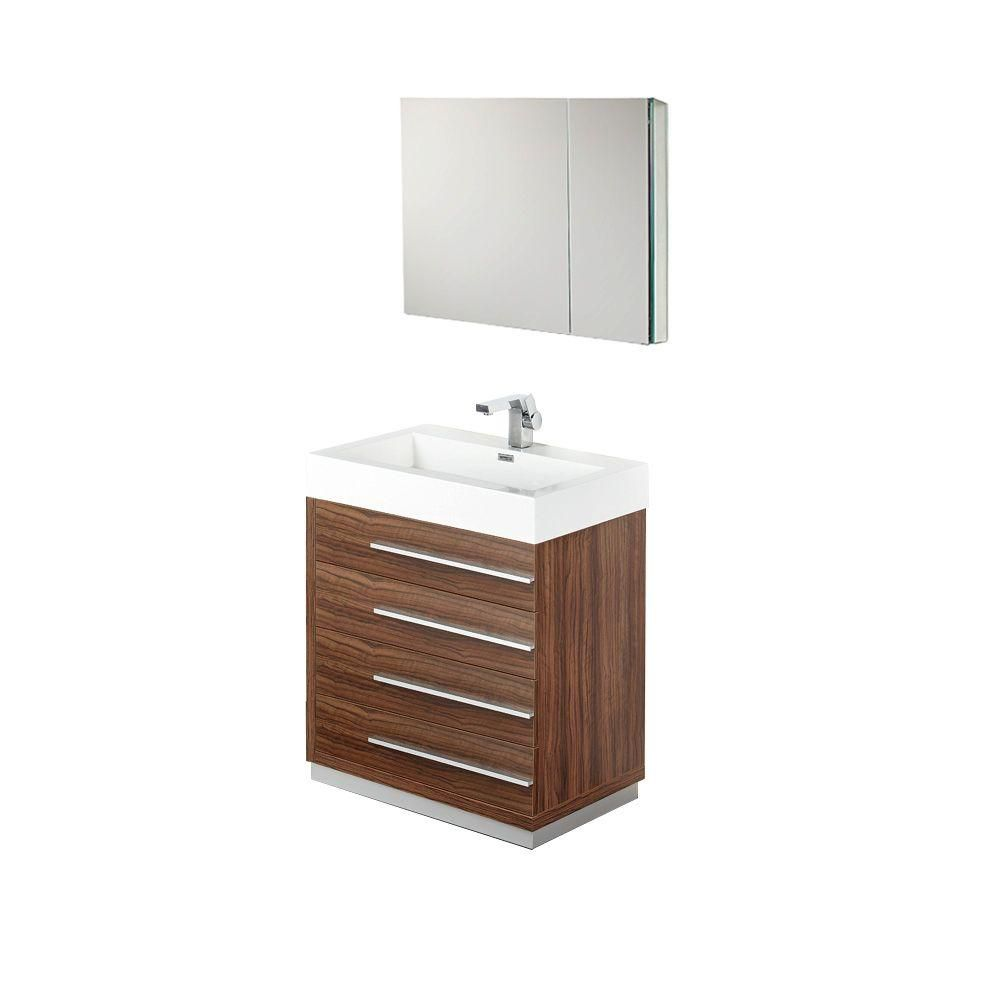 Fresca Livello 29.38-inch W 4-Drawer Freestanding Vanity in Brown With Acrylic Top in White With Faucet