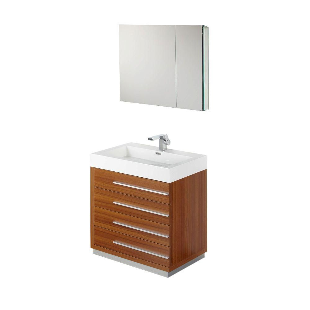 Livello 30-inch W Vanity in Teak Finish with Medicine Cabinet