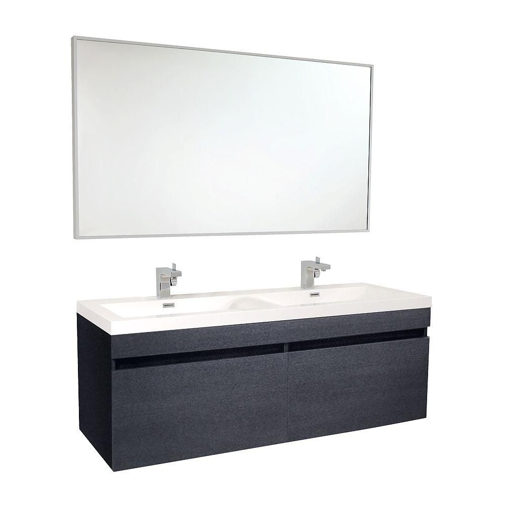 Largo 56 1/2-inch W Vanity in Black Finish with Wavy Double Sinks