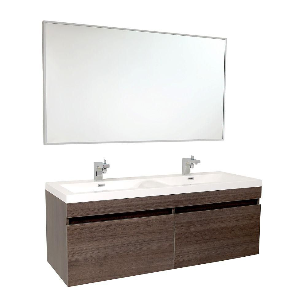 Largo 56 1/2-inch W Vanity in Grey Oak Finish with Wavy Double Sinks