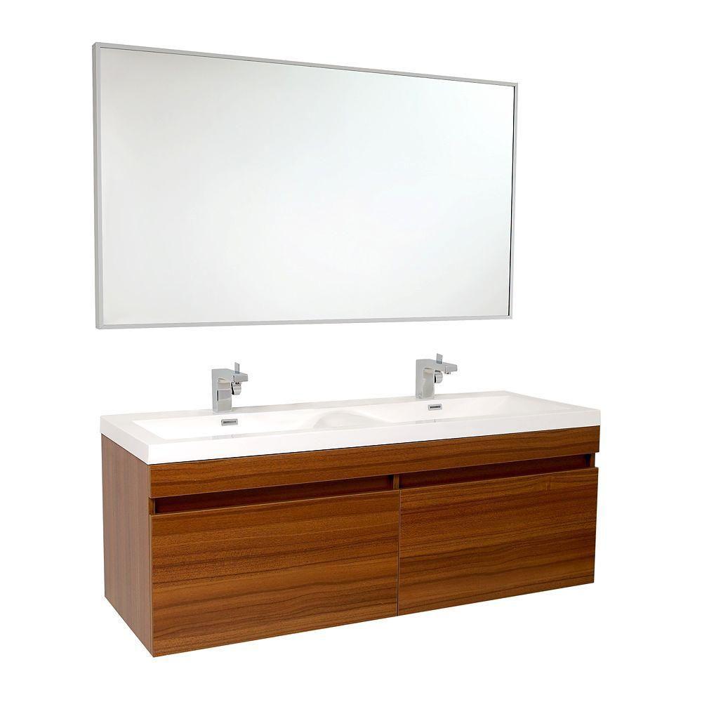 Largo Meuble-lavabo de salle de bains moderne teck avec doubles éviers ondulés