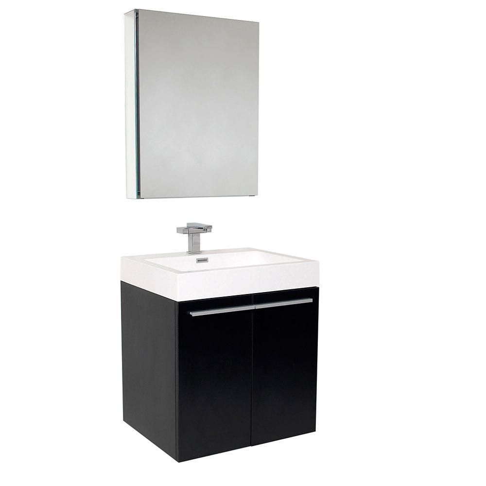 Fresca Alto 22.5-inch W 2-Door Wall Mounted Vanity in Black With Acrylic Top in White With Faucet