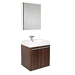 Fresca Alto 22.5-inch W 2-Door Wall Mounted Vanity in Brown With Acrylic Top in White With Faucet