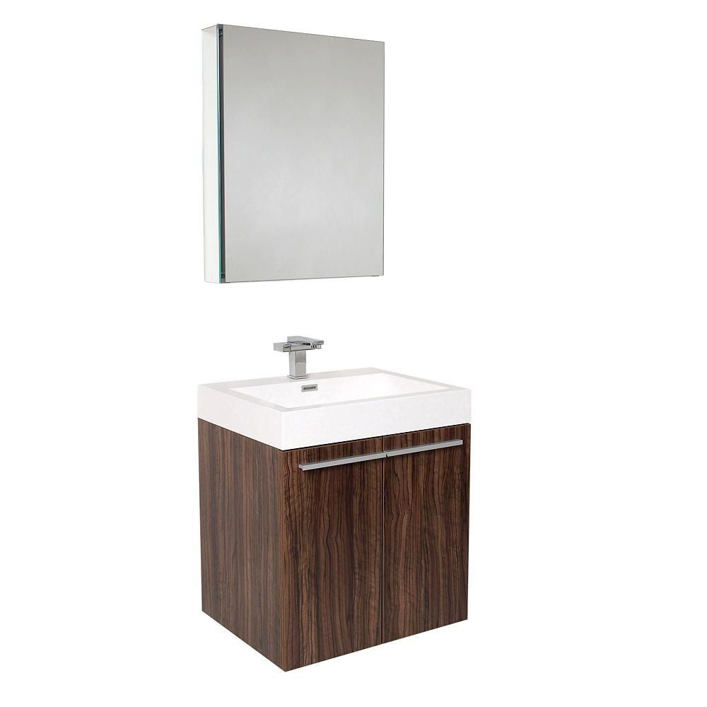 Alto 23-inch W Vanity in Walnut Finish with Medicine Cabinet