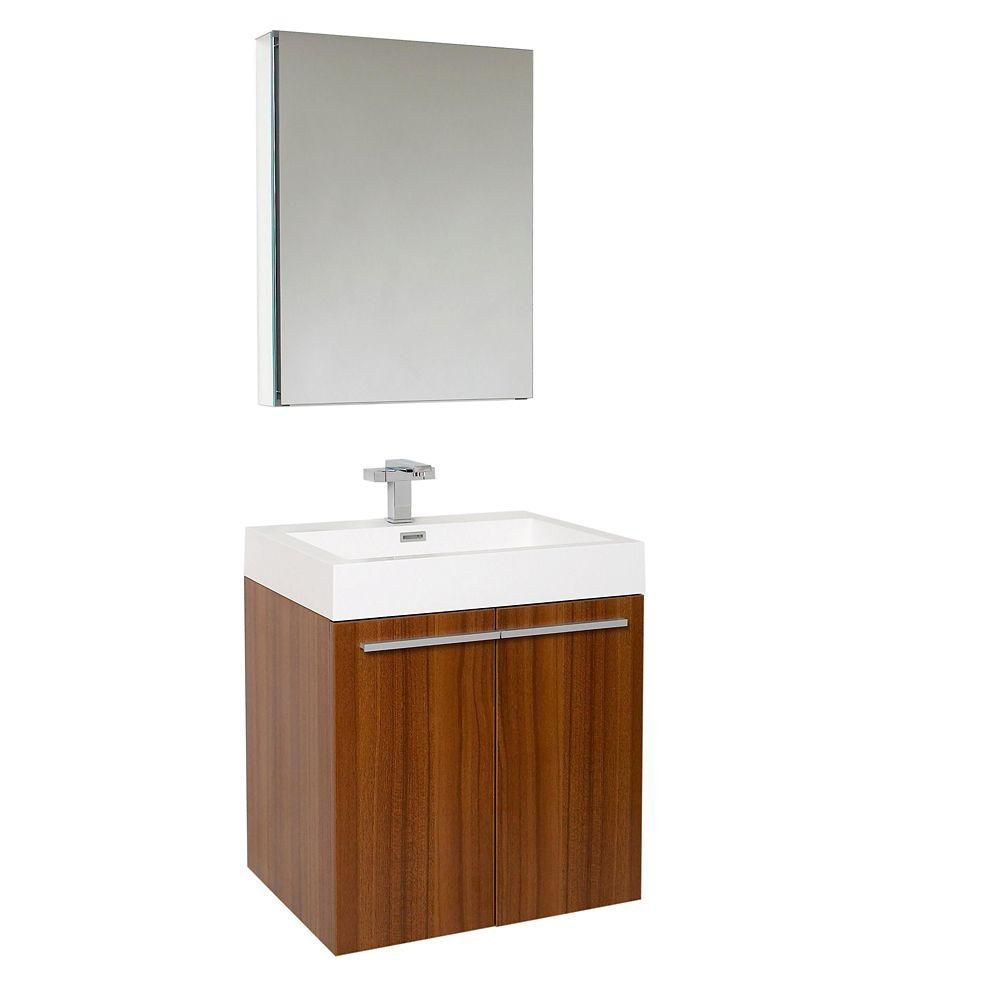 Fresca Alto Teak Modern Bathroom Vanity With Medicine