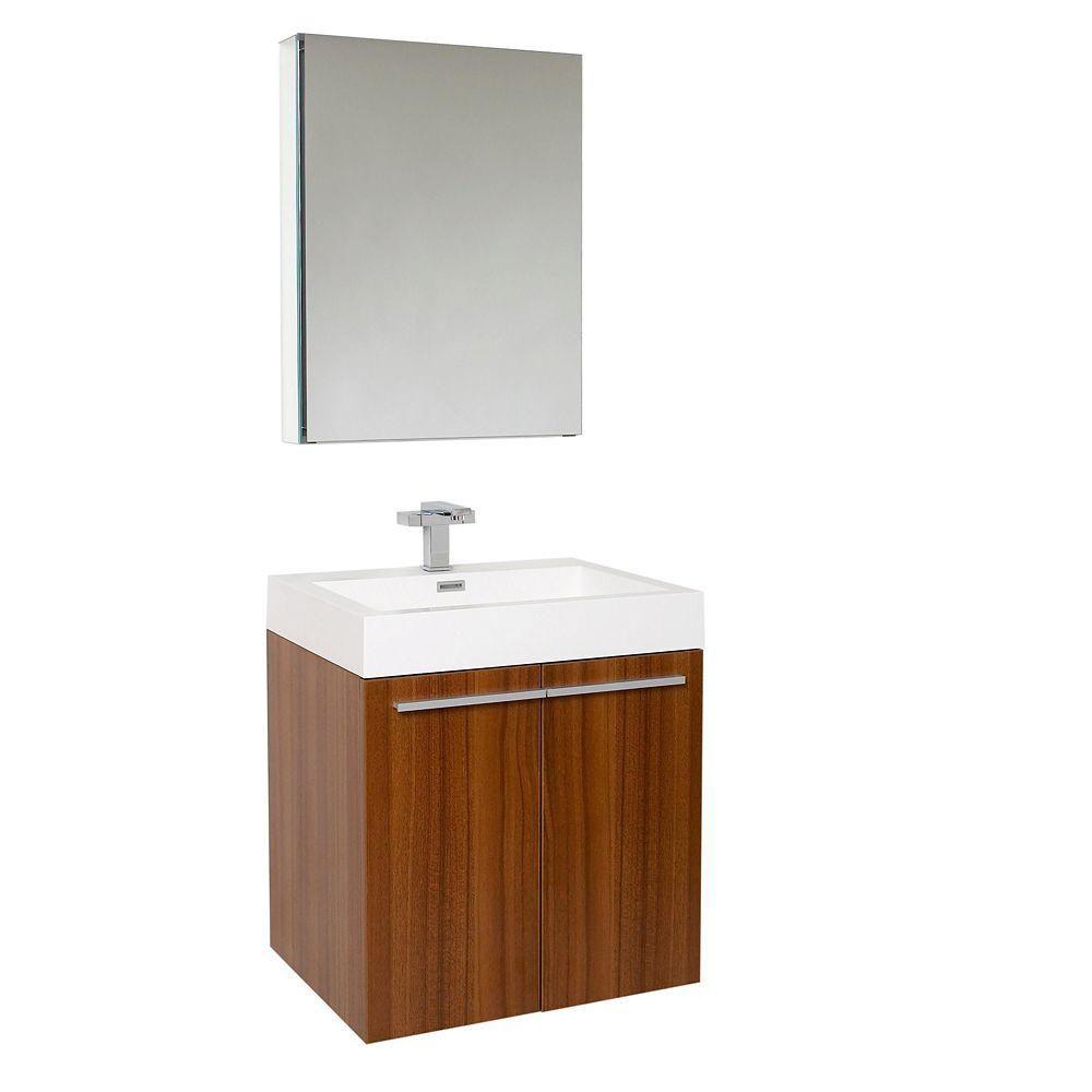 Alto 23-inch W Vanity in Teak Finish with Medicine Cabinet