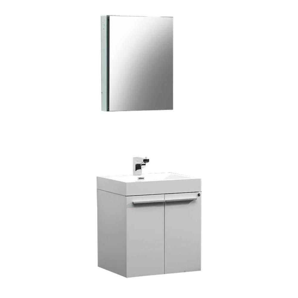 Fresca Alto 22.5-inch W 2-Door Wall Mounted Vanity in White With Acrylic Top in White With Faucet