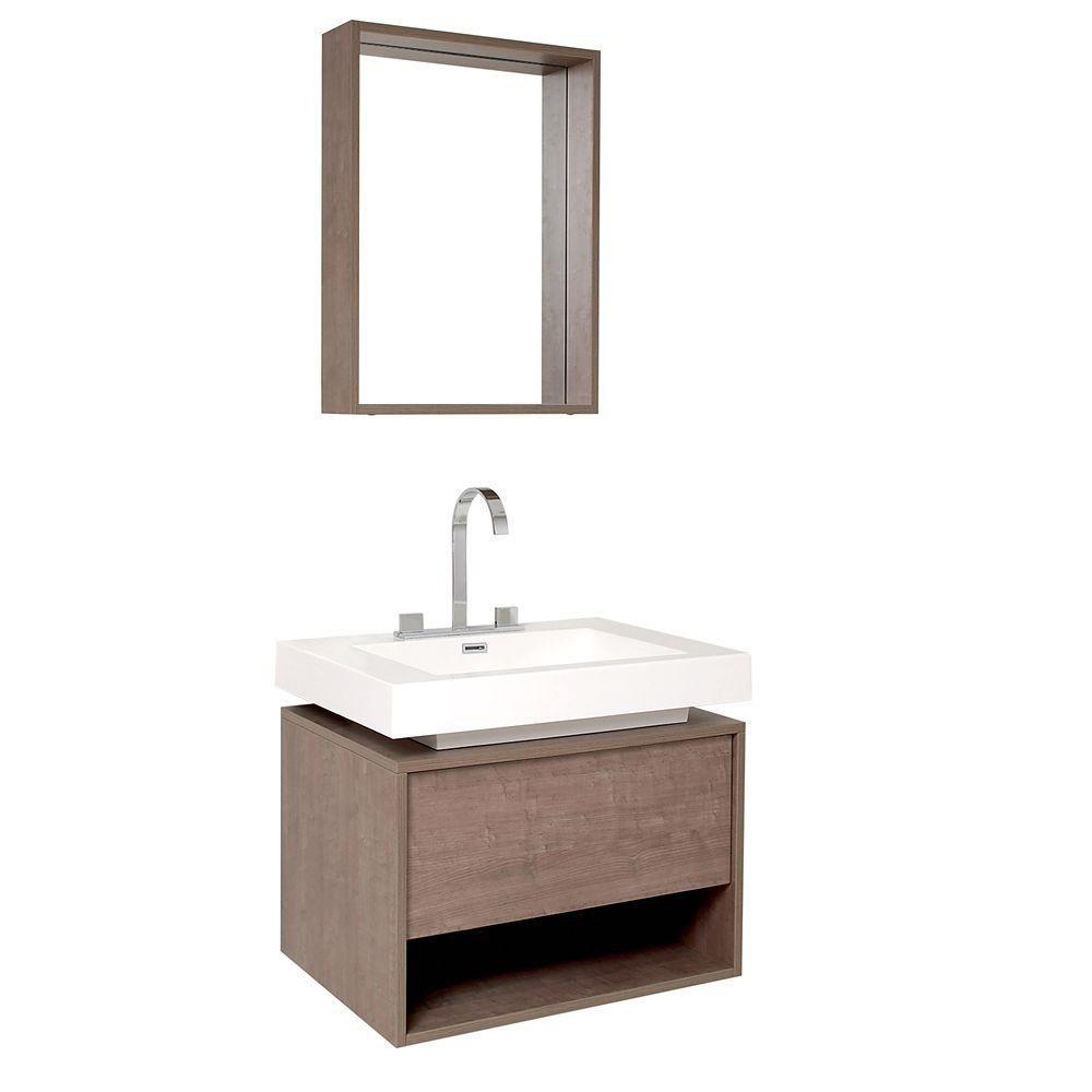 Potenza Meuble-lavabo de salle de bains moderne chêne gris avec tiroir à ouverture automatique