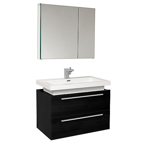 Medio 31.38-inch W 2-Drawer Wall Mounted Vanity in Black With Acrylic Top in White With Faucet