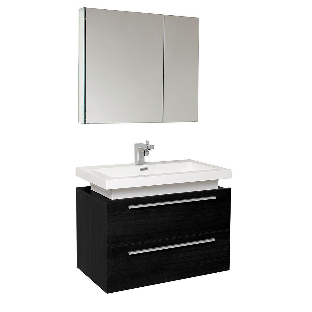 Medio Meuble-lavabo de salle de bains moderne noir avec armoire à pharmacie