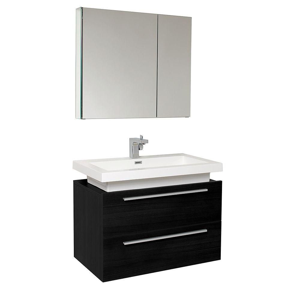 Fresca Medio 31.38-inch W 2-Drawer Wall Mounted Vanity in Black With Acrylic Top in White With Faucet