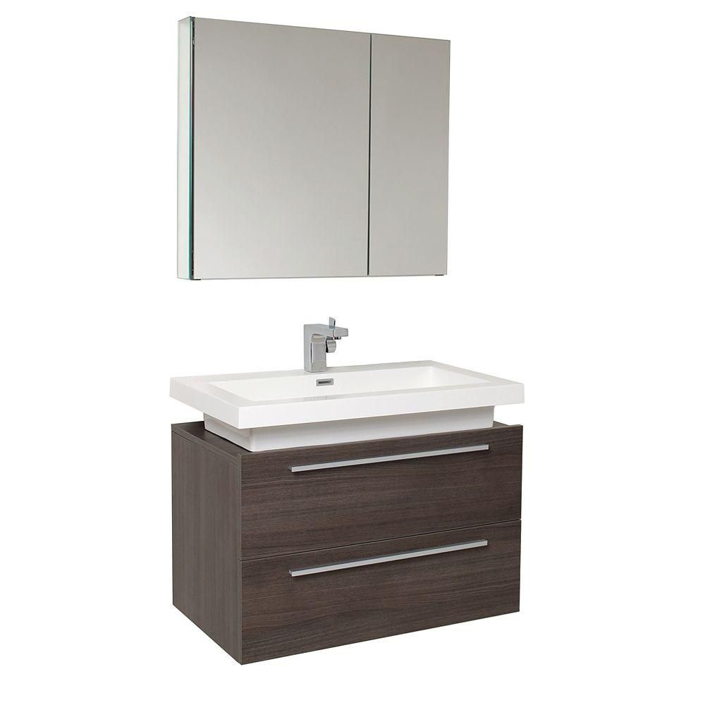 Medio 31 1/4-inch W Vanity in Grey Oak Finish with Medicine Cabinet