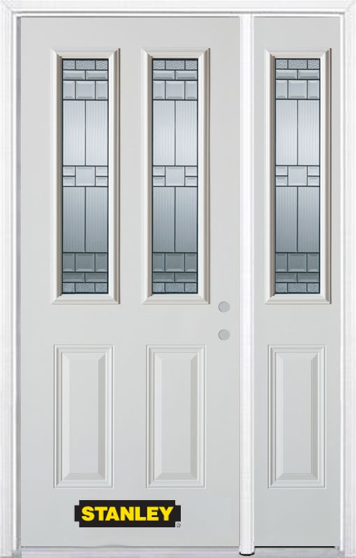 Stanley Doors 52.75 inch x 82.375 inch Seattle Zinc 2-Lite 2-Panel Prefinished White Left-Hand Inswing Steel Prehung Front Door with Sidelite and Brickmould