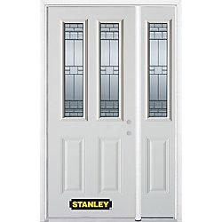 Stanley Doors Porte dentrée en acier préfini en blanc, munie de deux panneaux et de deux verre, 51 po x 82 po avec panneaux latéraux et moulure de brique