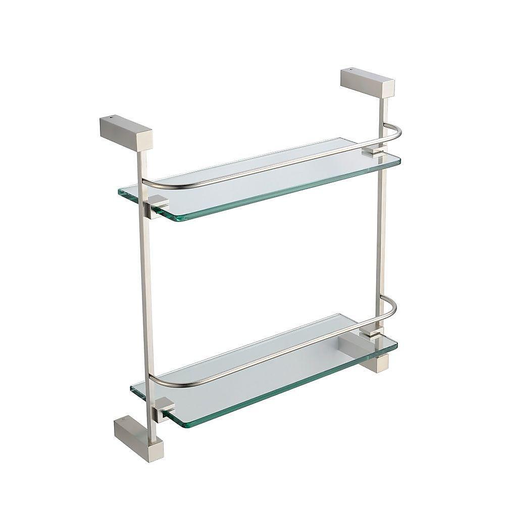 Ottimo Tablette de verre 2 niveaux - Nickel brossé