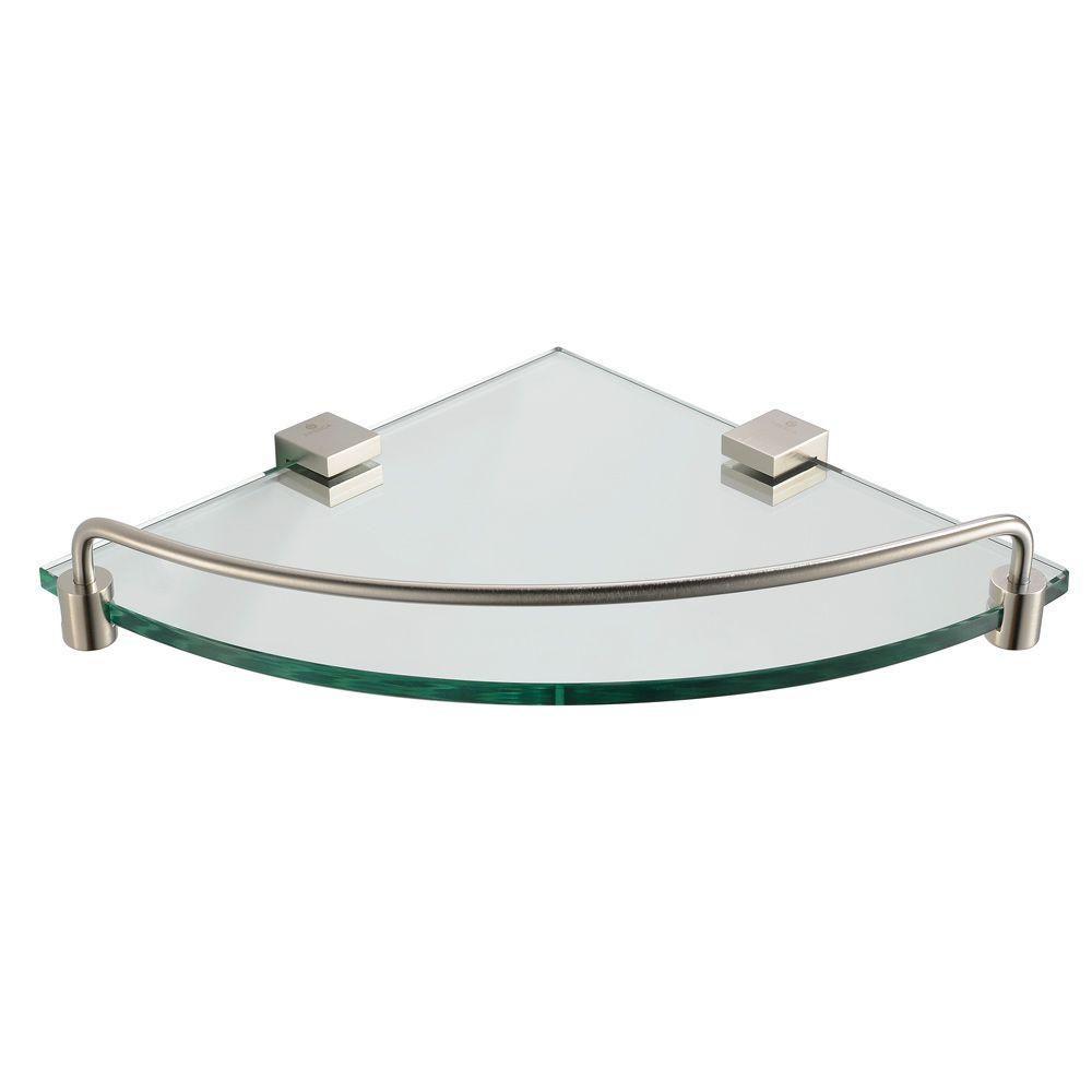 Ottimo Corner Glass Shelf - Brushed Nickel