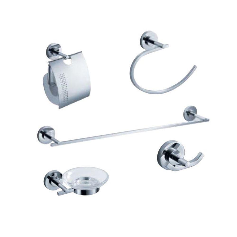 Fresca Alzato 5 Piece Bathroom Accessory Set Chrome The Home Depot Canada