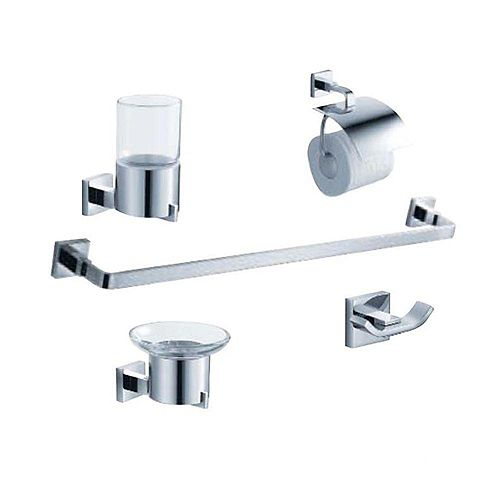 Fresca Glorioso Bath Suite with 24-inch Towel Bar, Soap Dish, Tumbler Holder, Toilet Paper Holder, and Hook