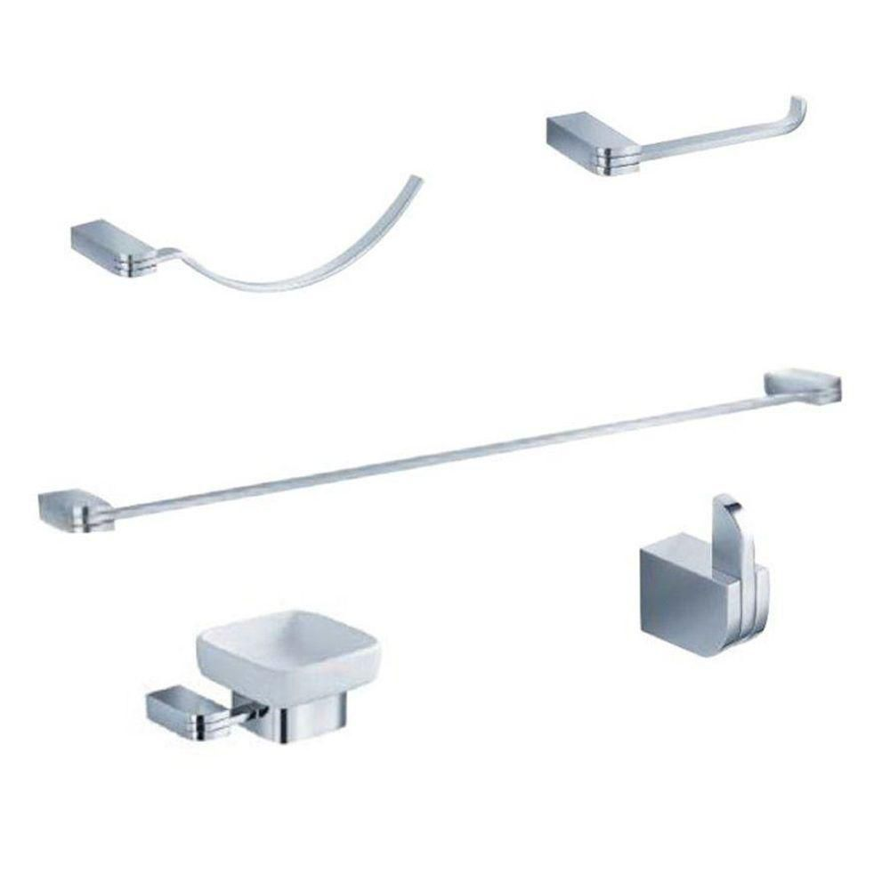 Fresca Solido Brass 5-Piece Bathroom Accessory Set in Chrome