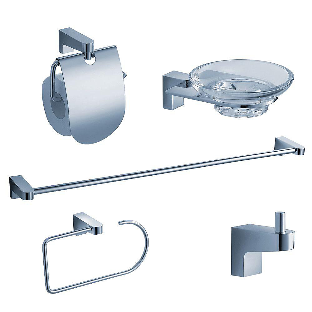 Generoso 5-Piece Bathroom Accessory Set - Chrome