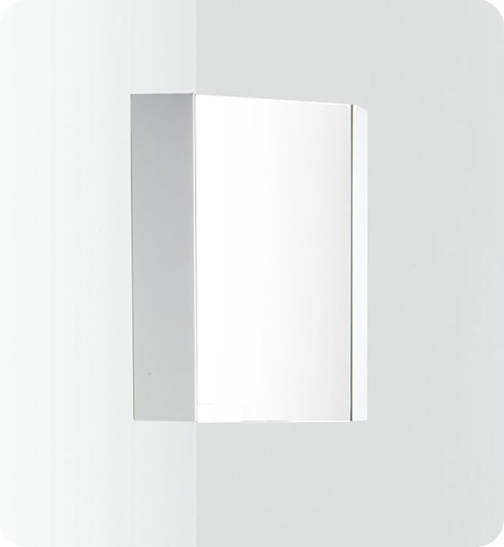 Coda 14 Inch White Corner Medicine Cabinet With Mirror Door