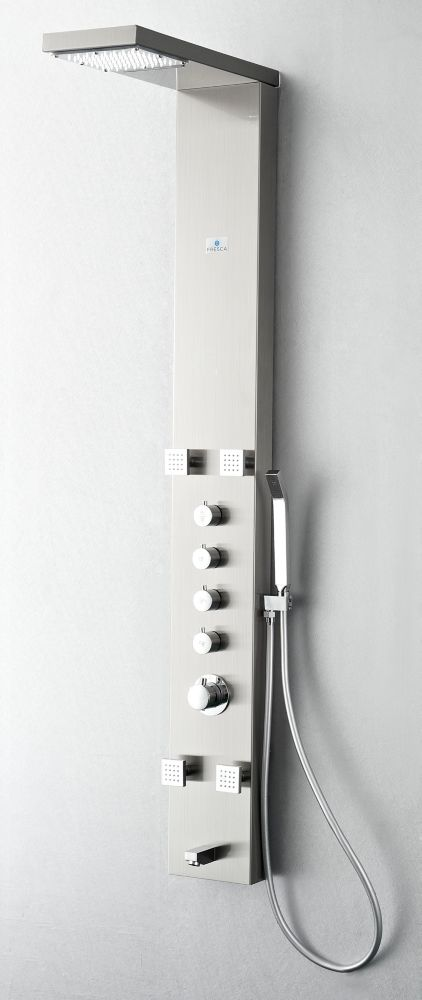 Verona Stainless Steel Thermostatic Shower Massage Panel in Brushed Silver