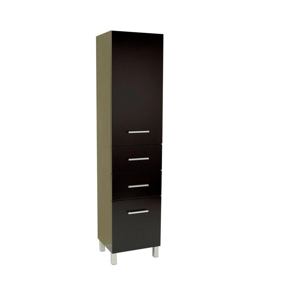 Espresso Bathroom Linen Side Cabinet With 3 Pull Out Drawers