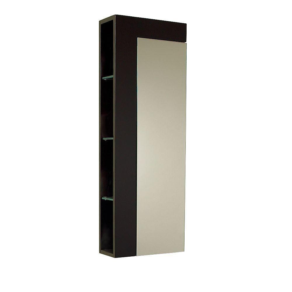 Armoire à linge latérale de salle de bain espresso avec grande porte miroir