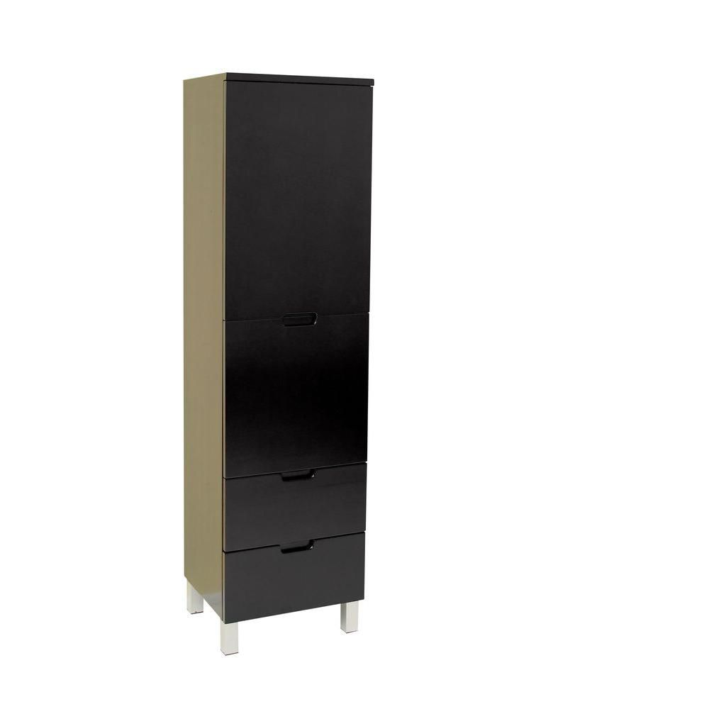 Espresso Bathroom Linen Side Cabinet With 4 Storage Areas